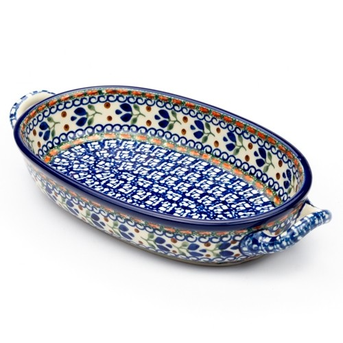 blue printed serving dish
