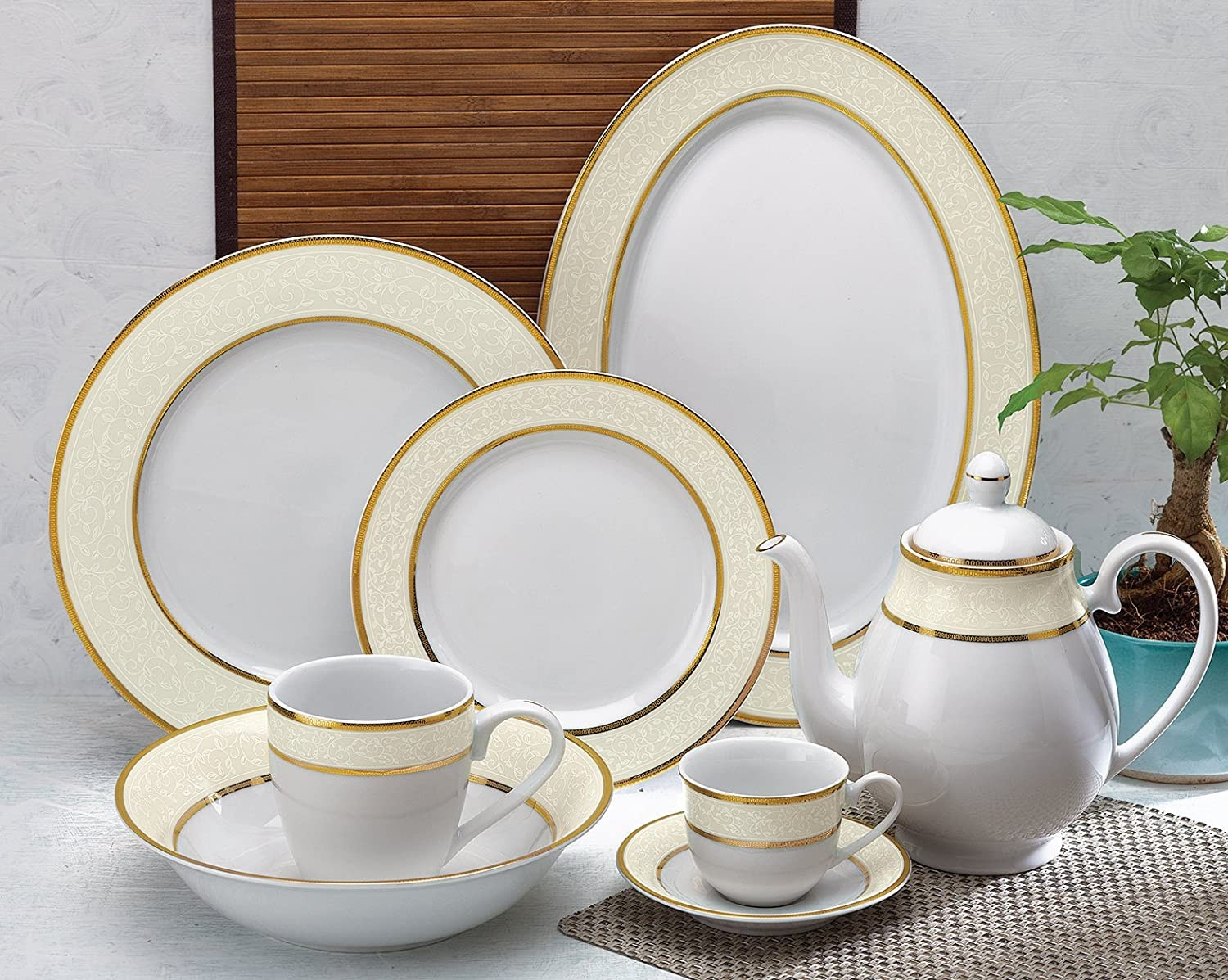 golden border white crockery set