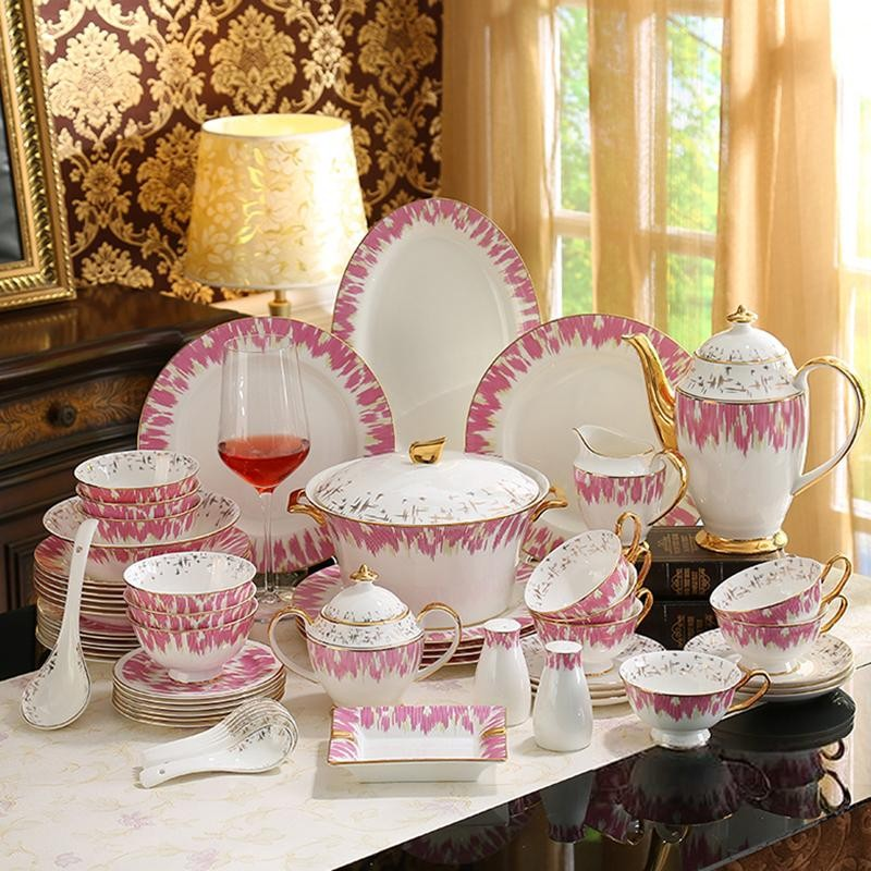 pink floral crockery set