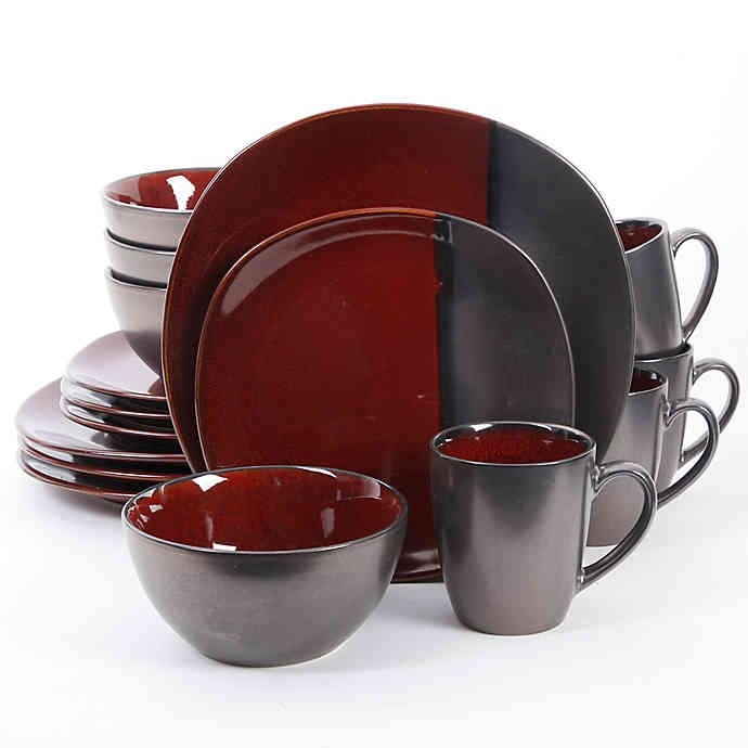 red black cup plate set