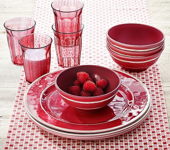 red soup bowl plate glass set