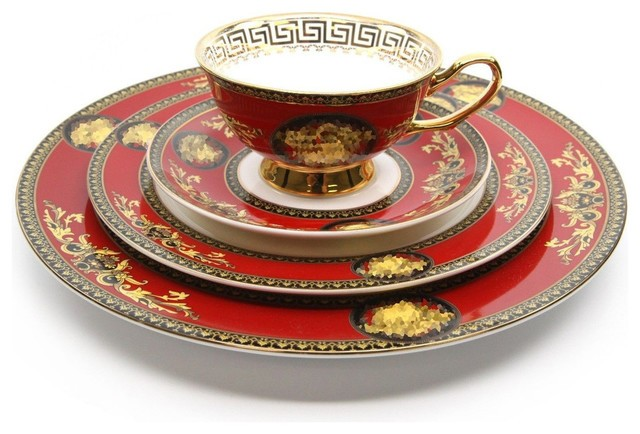 royal red printed cup plate