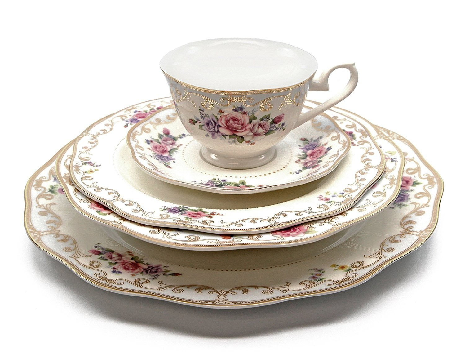 white floral cup plate set