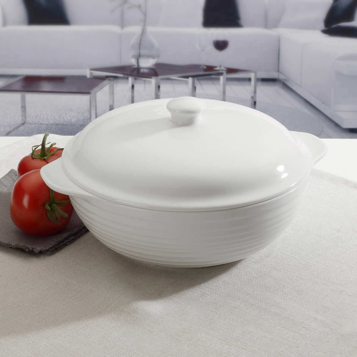 white serving-dish with lid